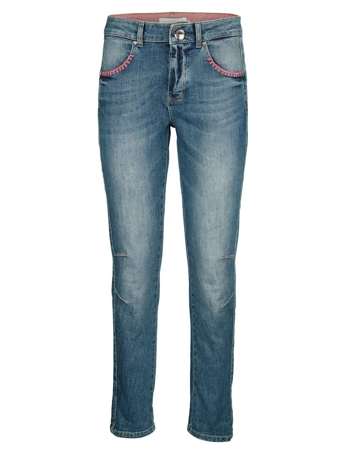 OUI Jeans mit modischen Details, Blue stone