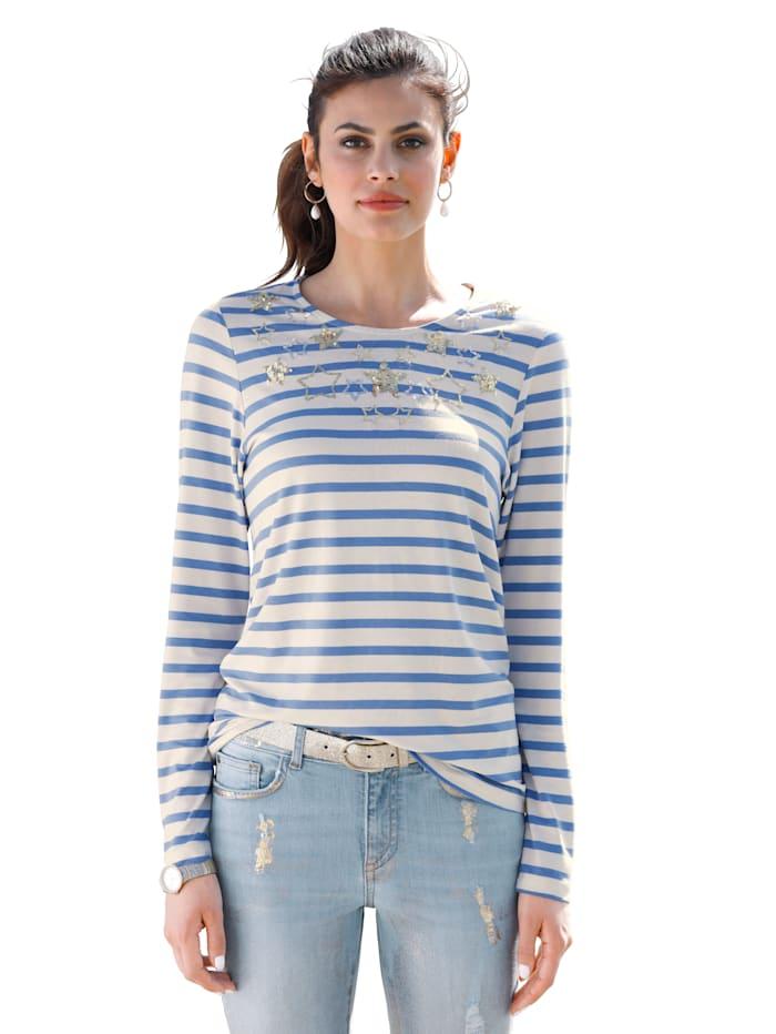 AMY VERMONT Shirt mit Paillettendekoration und Stickerei im Vorderteil, Ecru/Hellblau
