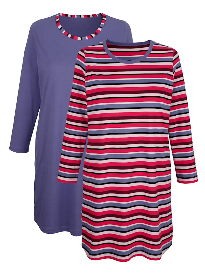 Blue Moon Nachthemden per 2 stuks met ingebreide strepen, Rookblauw/Rood/Zwart