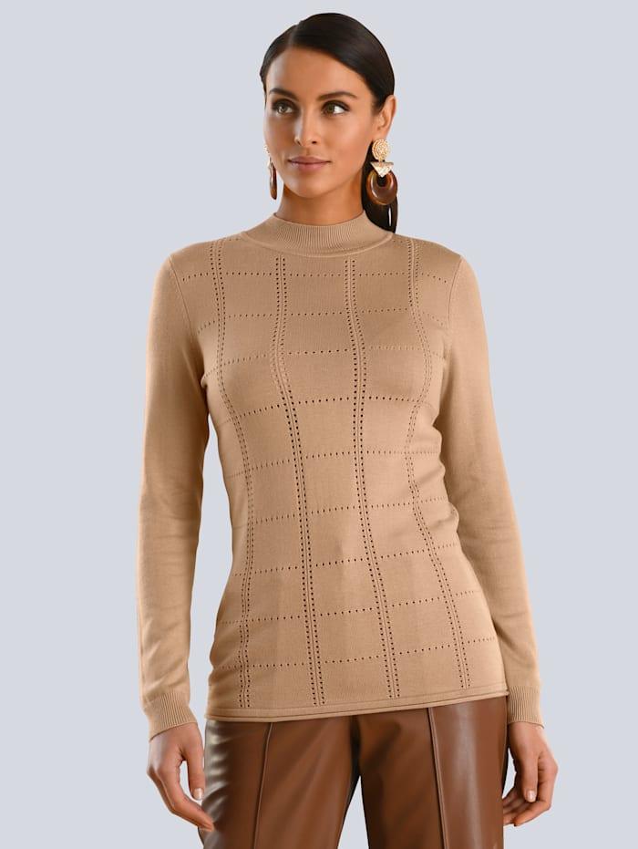 Alba Moda Pullover mit dezentem Ajour-Muster, Camel