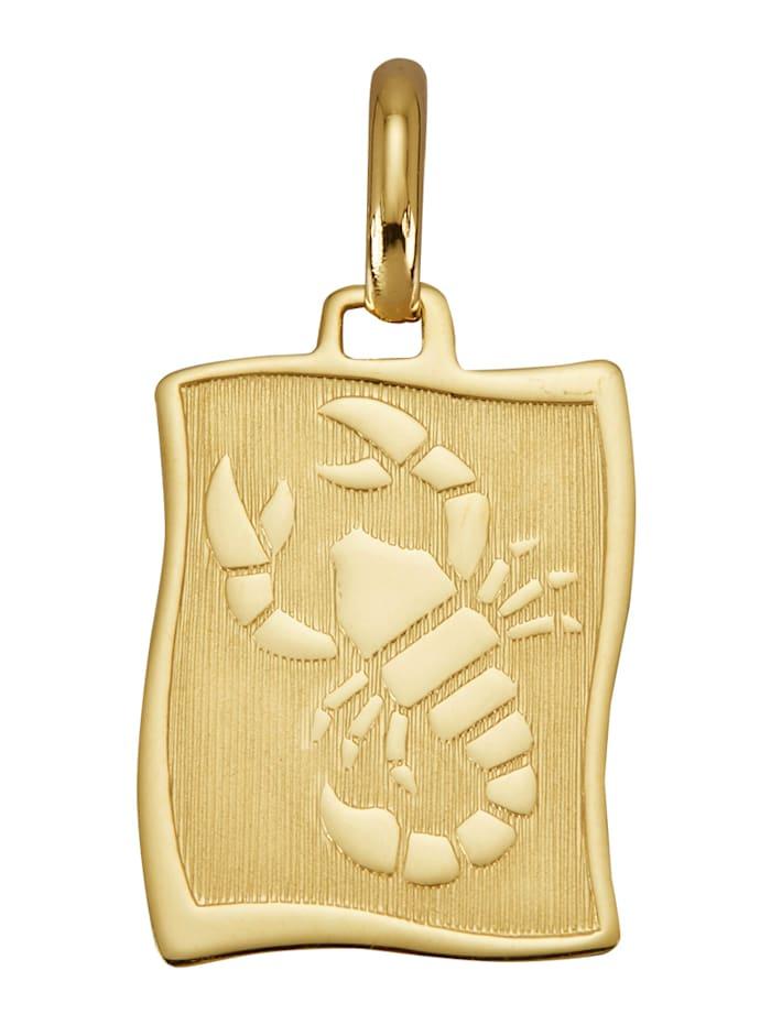 "Amara Or Pendentif avec pierre de naissance ""Scorpion"" en or jaune 585, Coloris or jaune"