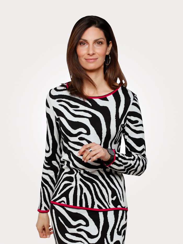 MONA Pullover in Animal-Jacquard, Schwarz
