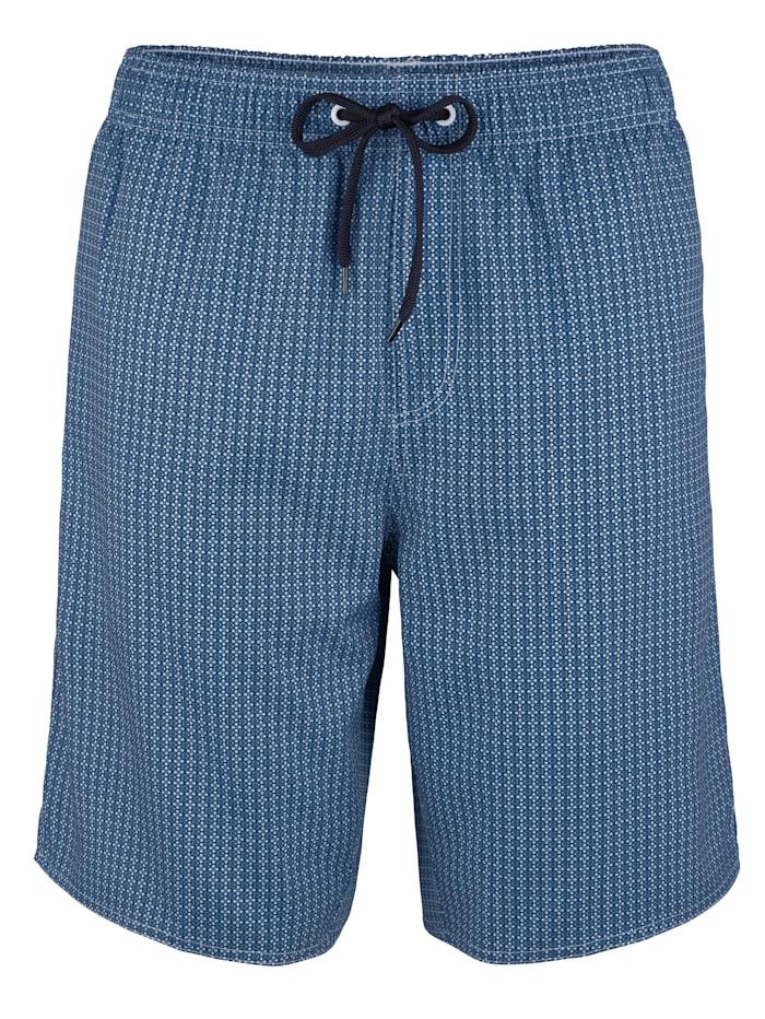 Maritim Zwemshort me trendy dessin, blauw/wit