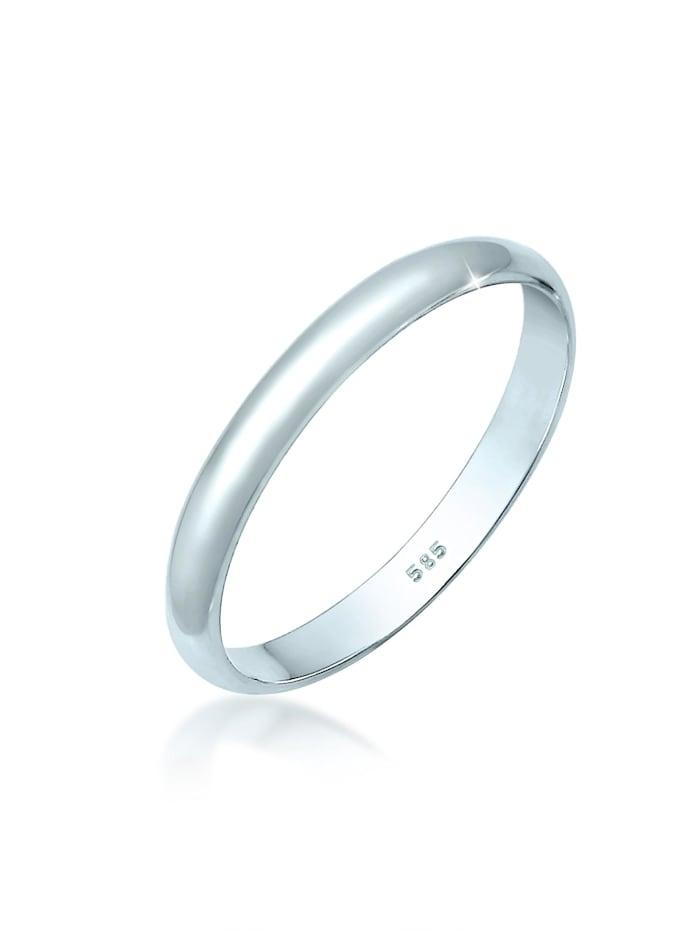 Elli Premium Ring Basic Bandring Hochzeit Trauring 585 Weißgold, Weiß