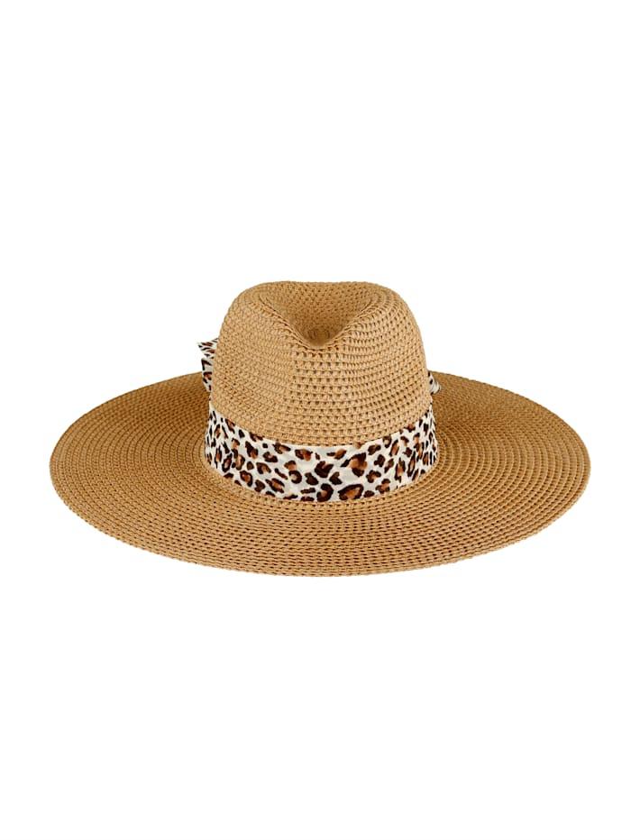 MONA Straw hat with detachable scarf, Sand