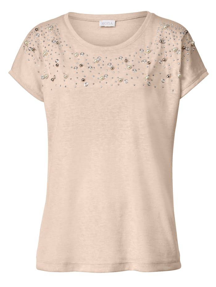 Shirt mit Zierperlen