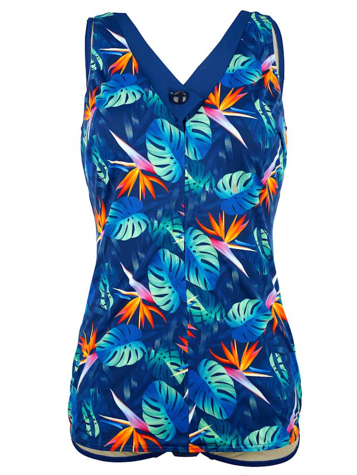 Maritim Badeanzug in figurfreundlicher Schößchenform, Blau/Grün/Orange