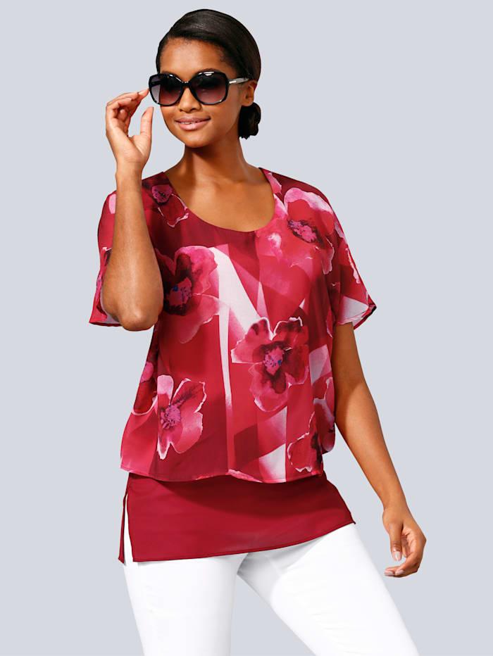 Alba Moda Blusenshirt in modischem Lagen-Look, Rot/Weiß