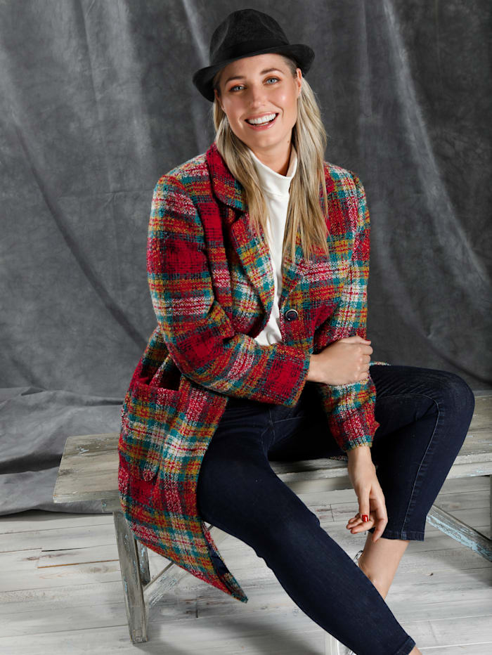MIAMODA Manteau à carreaux colorés, Multicolore