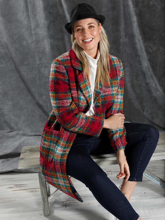 MIAMODA Mantel aus farbenfrohem Karo, Multicolor