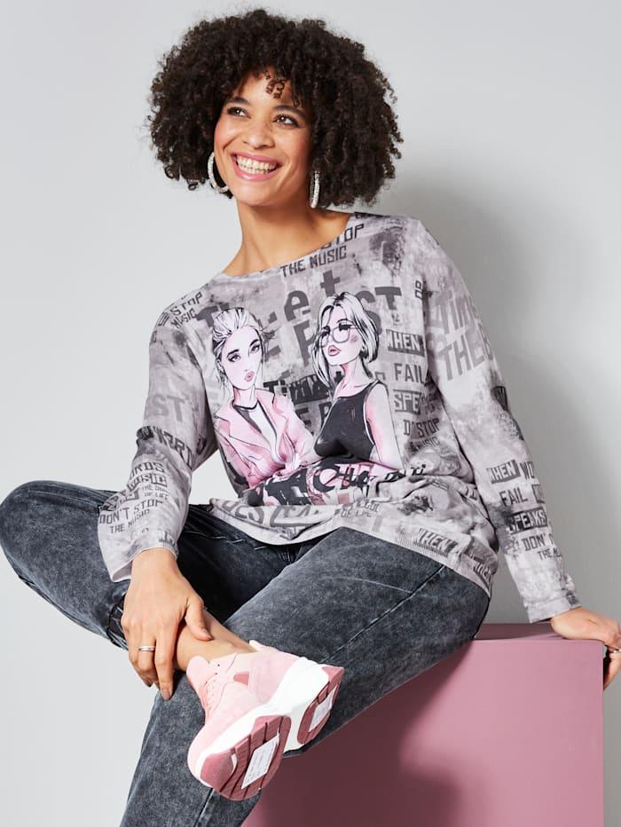 Angel of Style Trui met trendy print, Lichtgrijs/Multicolor