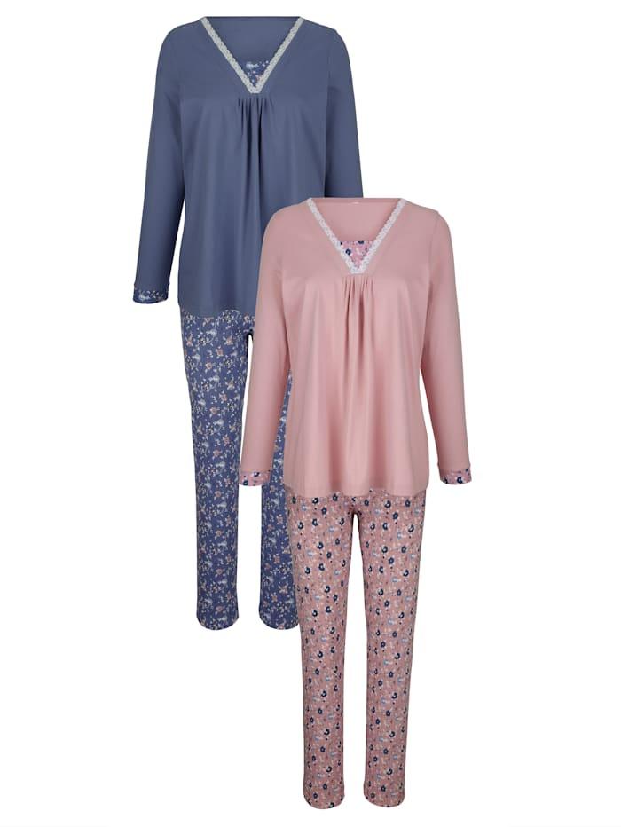 Harmony Pyjama met moderne hals, Oudroze/Rookblauw
