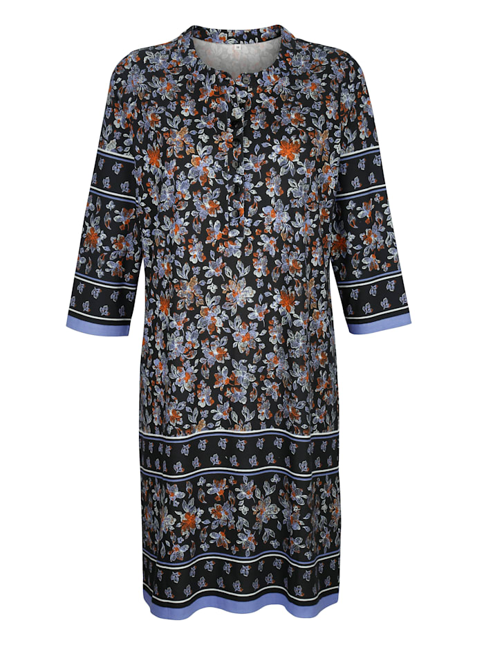 Blue Moon Nachthemd mit floralem Bordürendruck, Schwarz/Lavendel/Orange