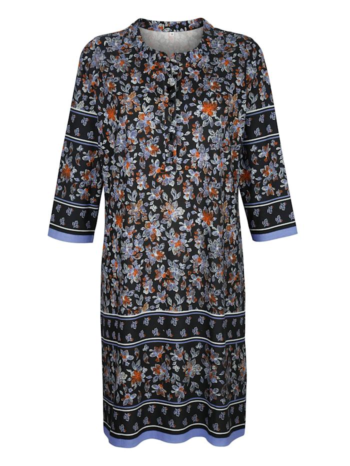 Blue Moon Nachthemd met bloemenprint, Zwart/Lavendel/Oranje