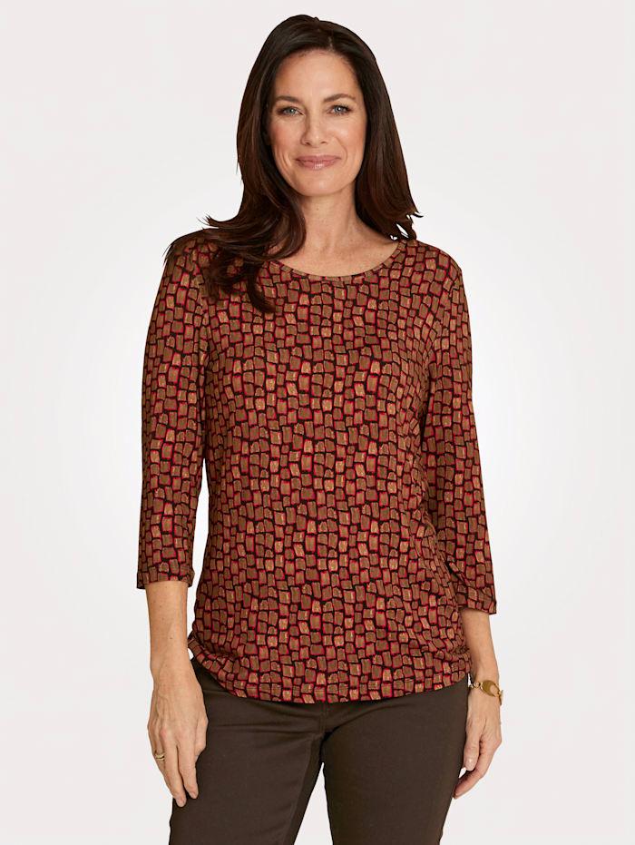MONA Shirt met grafische print, Terracotta/Zwart