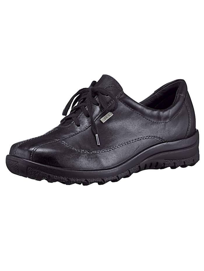 Caprice Schnürschuh mit auswechselbarem Lederfußbett, Schwarz