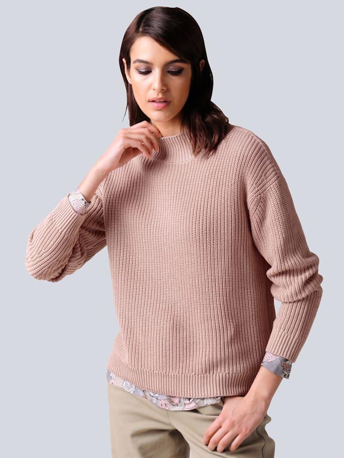 Alba Moda Pullover in schönem Patentstrick, Rosé