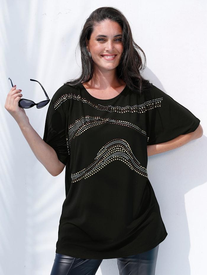 MIAMODA T-shirt à éléments fantaisie en métal, Noir