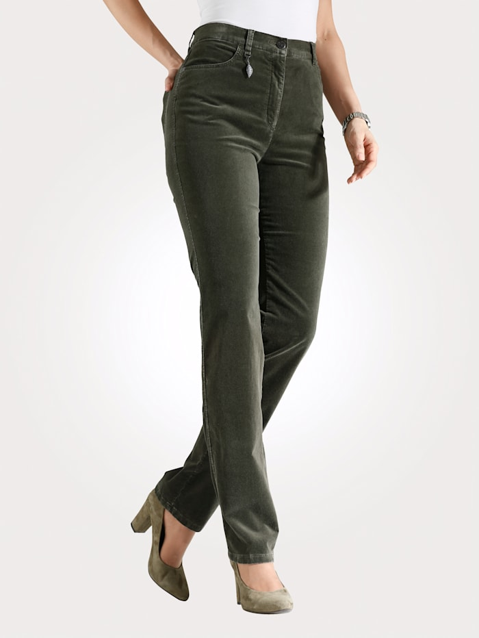 Toni Pantalon en velours doux, Olive
