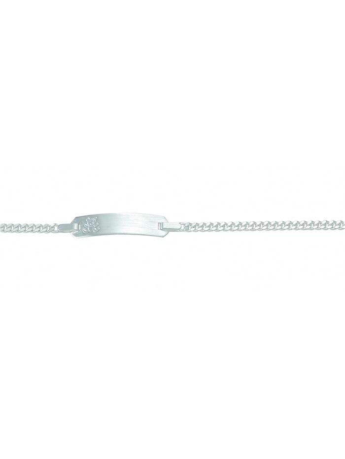 1001 Diamonds Damen Silberschmuck 925 Silber Flach Panzer Armband 14 cm Ø 2,1 mm, silber