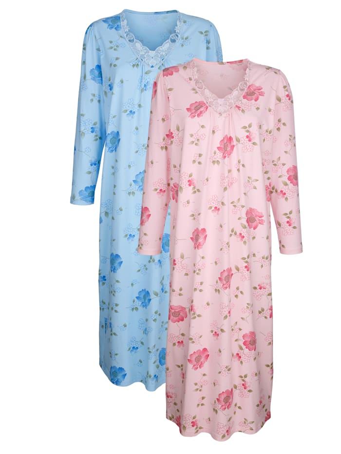 Nachthemden mit floraler Spitze 2er Pack