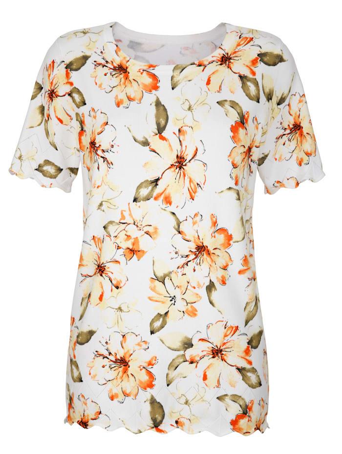 Pullover mit Blumendruck rundum