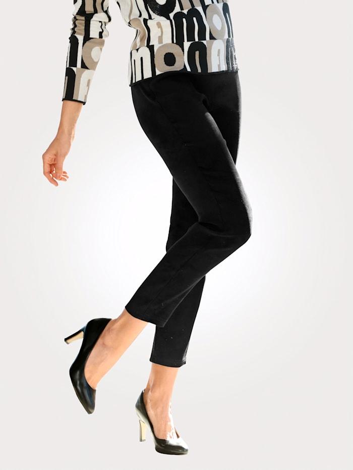 MONA Pantalon facile à enfiler en simili cuir velours, Noir