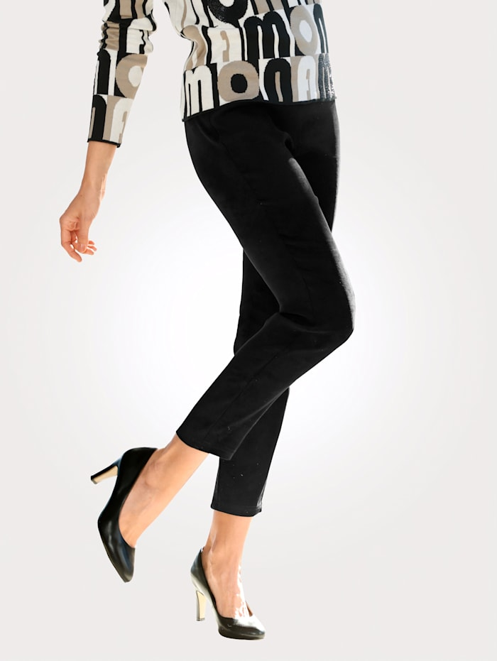 MONA Pull-on trousers in a faux suede finish, Black