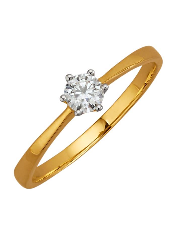 Diemer Solitär Ring van 18 kt. goud, Geelgoudkleur