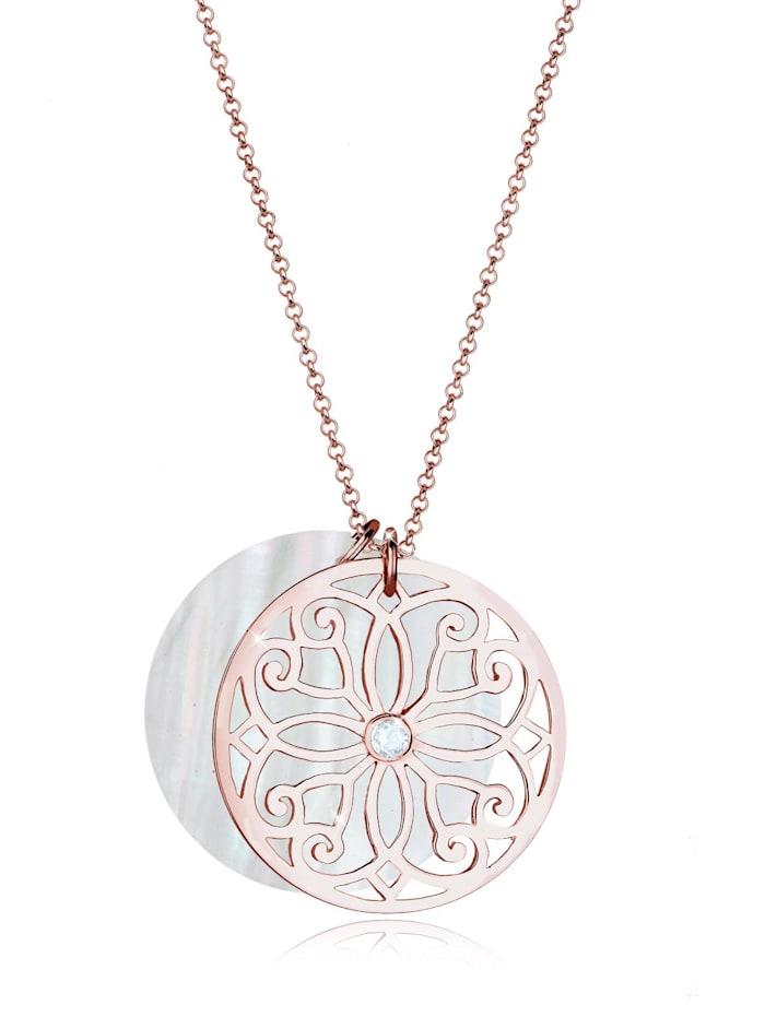 Elli Premium Halskette Ornament Perlmutt Topas 925 Sterling Silber, Rosegold