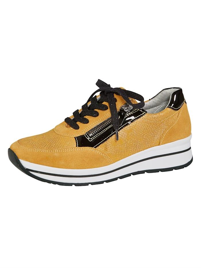 Naturläufer Schnürschuhe mit seitlichem Reißverschluss, Gelb