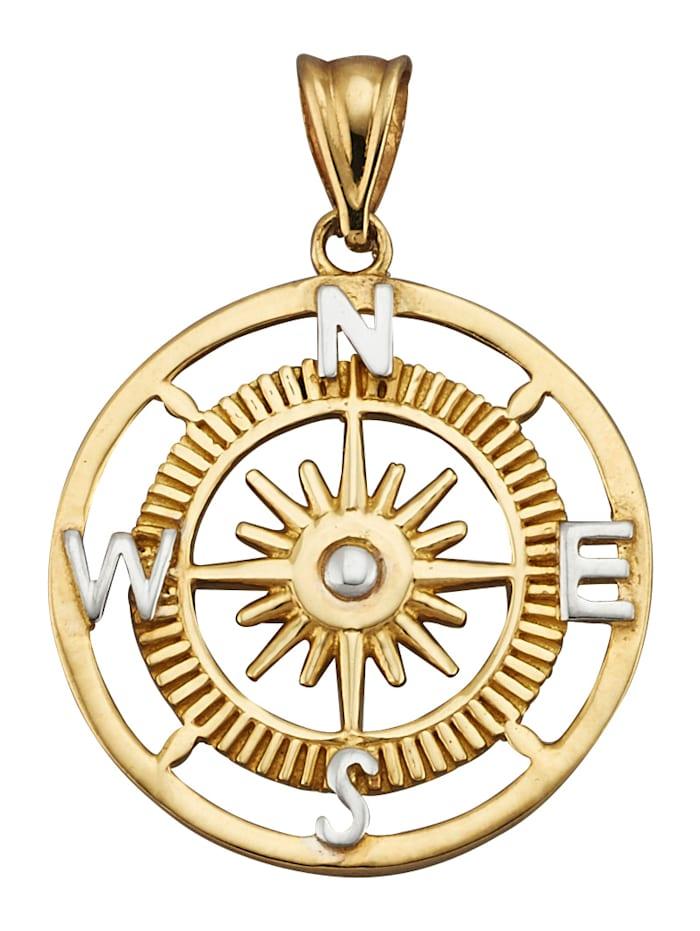 Kompass-Anhänger, Gelbgoldfarben