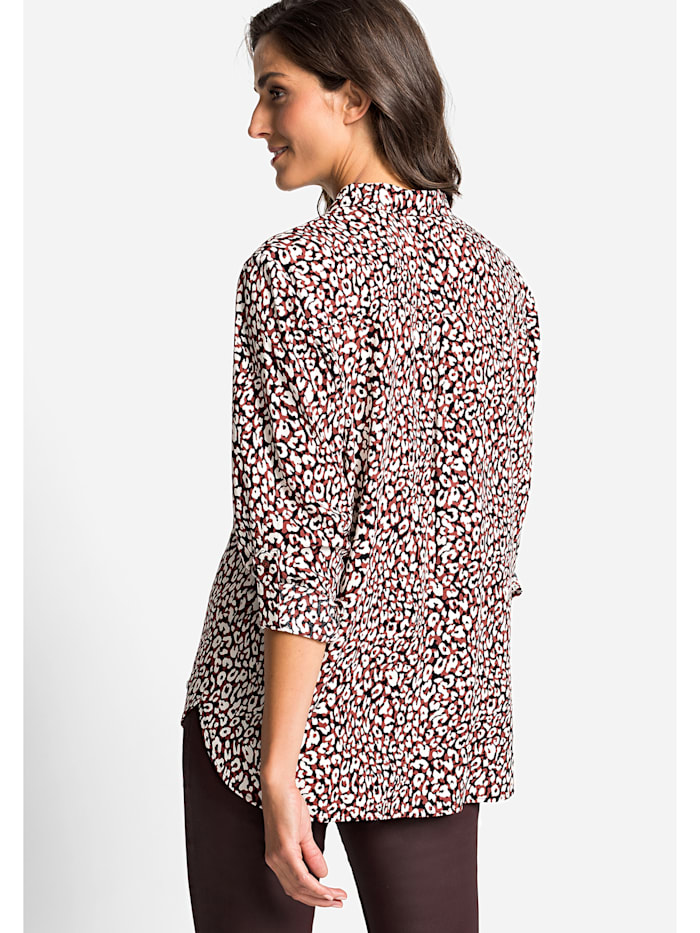Klassische Bluse mit abstraktem Leopardenprint