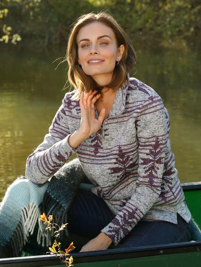 Paola Fleeceshirt in Strickoptik, Grau/Dunkellila