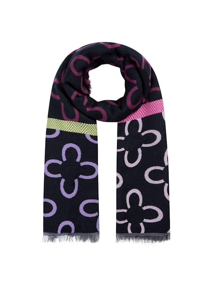 Codello Logo-Schal mit Baumwolle und Wolle, dark violet