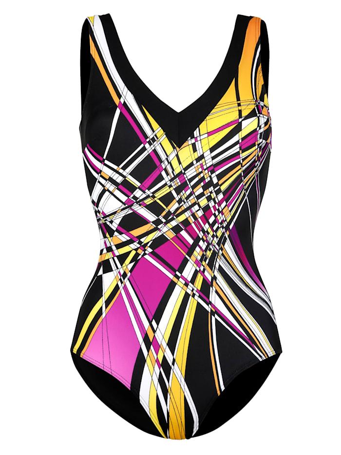Sunmarin Plavky s grafickým vzorom, Čierna/Žltá/Pink