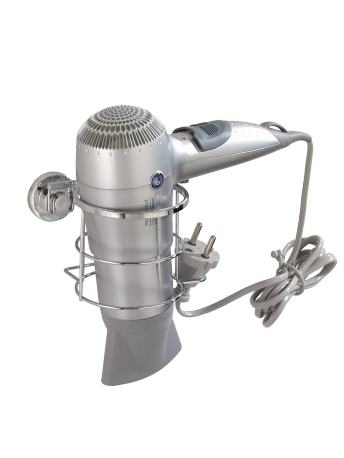 Wenko Power-Loc® Haartrocknerhalter Bovino, Befestigen ohne bohren, Glänzend, Abdeckung Power-Loc®: Chrom