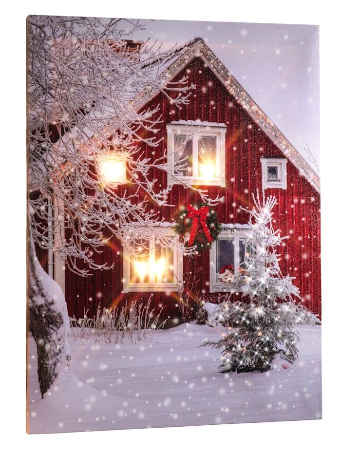 RWH Tavla med LED-belysning – hus i snö, flerfärgad