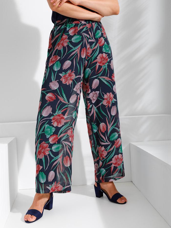 MIAMODA Hose mit hübschem Blumendruck, Multicolor