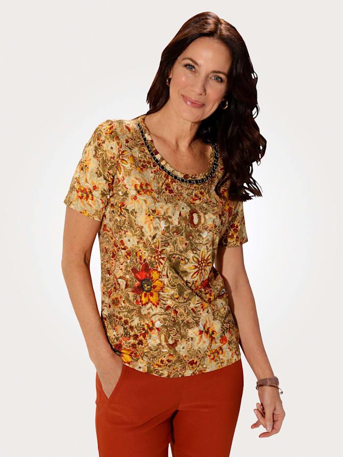MONA Shirt in modischem Blumendessin, Oliv/Gelb/Bordeaux