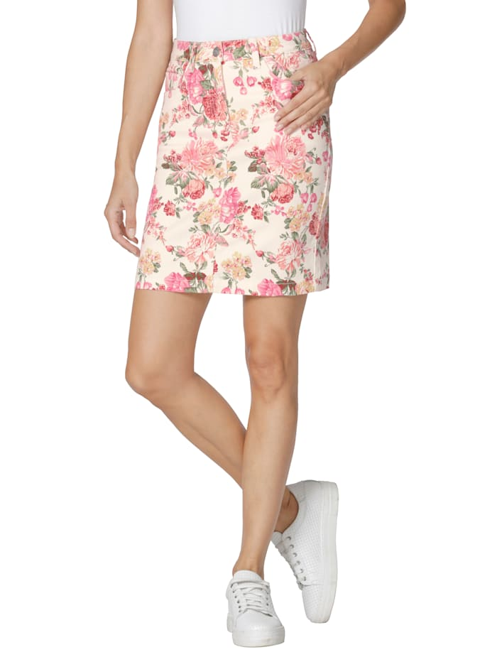 AMY VERMONT Rock mit Druck, Off-white/Pink/Rosé