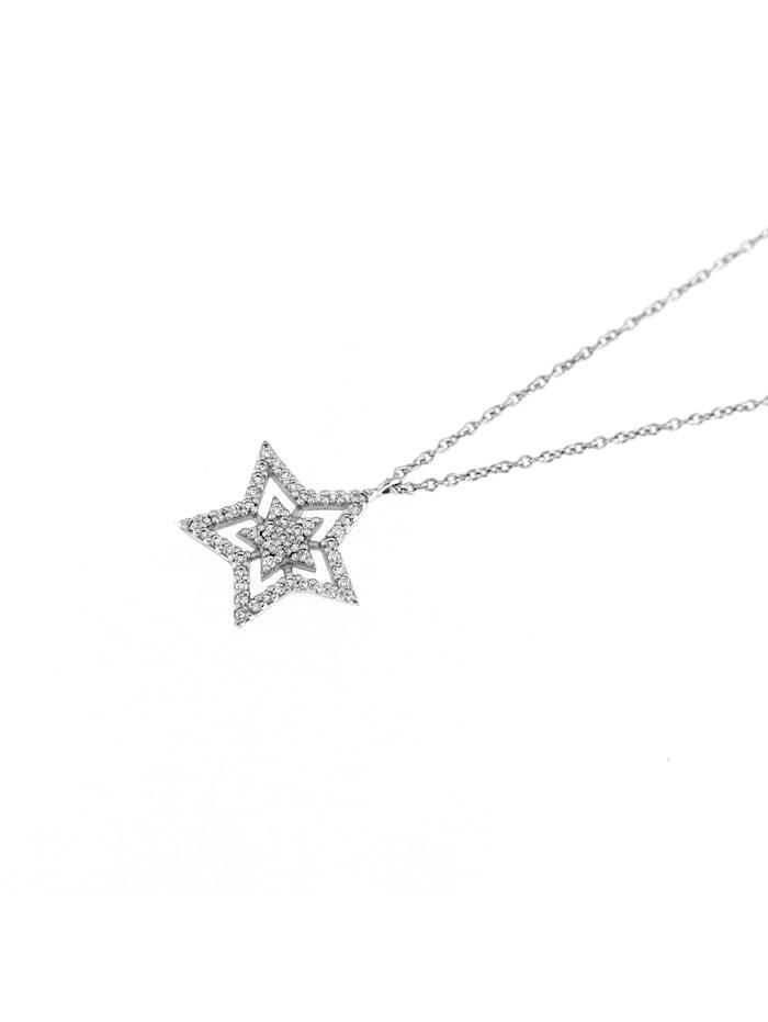 Collier Stern mit Zirkonia Steinen, Silber 925