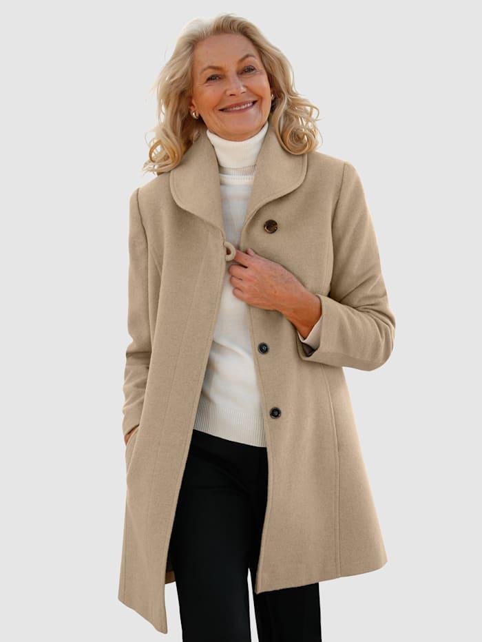 Paola Manteau en laine àcol châle, Taupe