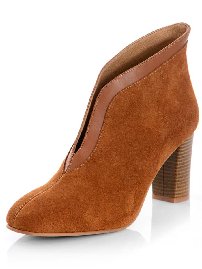 Alba Moda Low boots en cuir vachette, Cognac