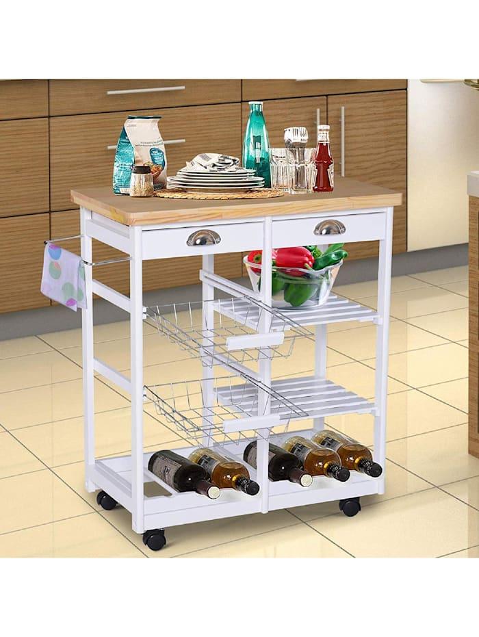 Küchenrollwagen mit Korb, Schublade, Weinablage