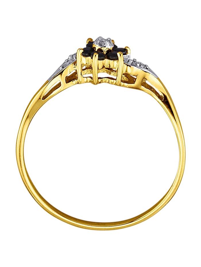 Ring med safirer och diamanter