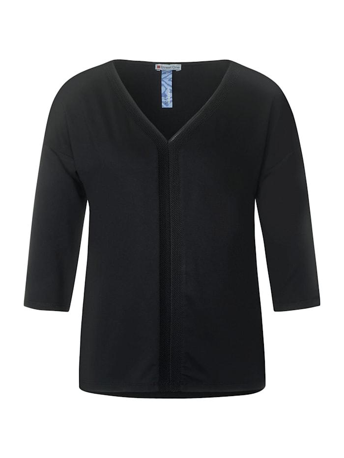 Street One Shirt mit Ripp-Details, Black