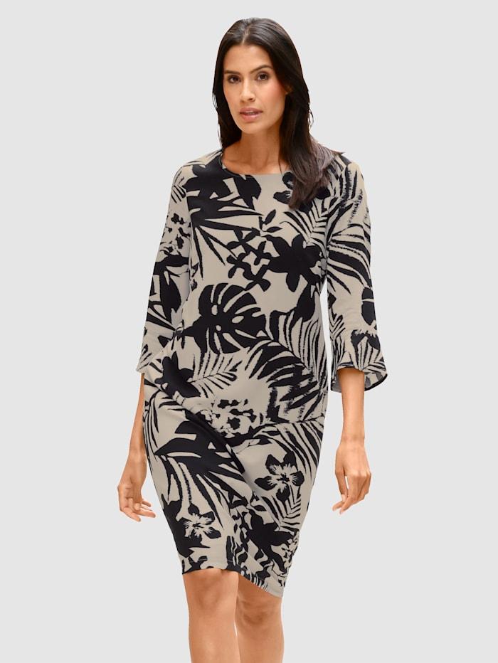 Laura Kent Šaty s květinovým potiskem, Černá/Světle šedá