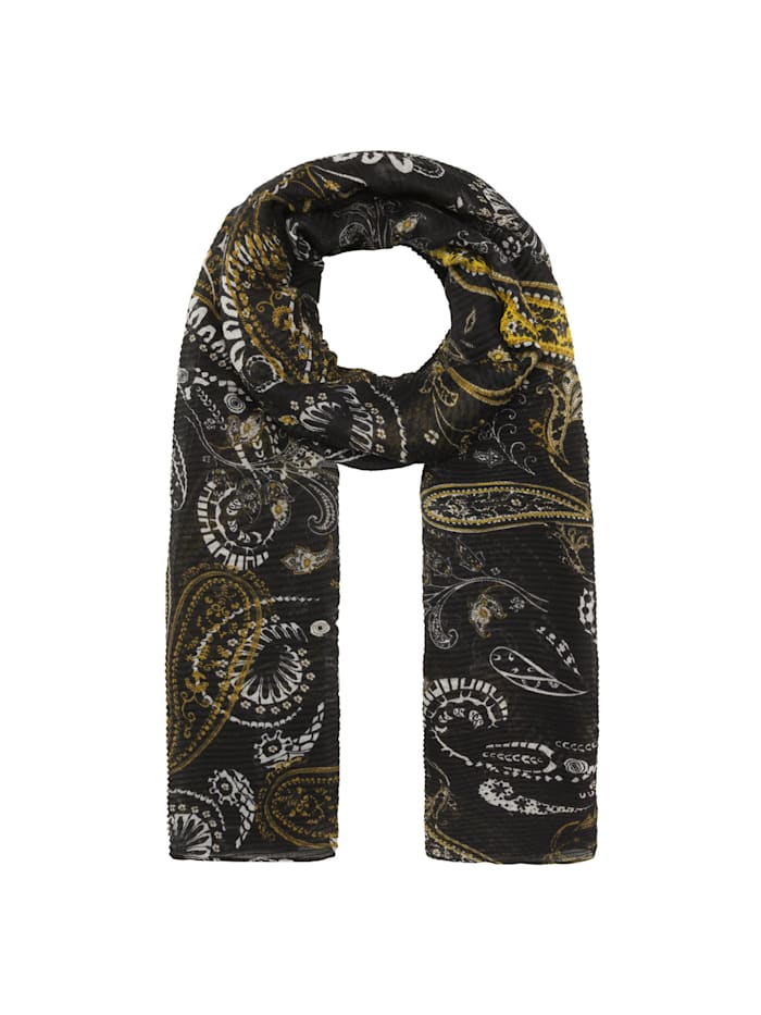 Codello Plissee-Schal mit Paisley-Muster aus recyceltem Polyester, black