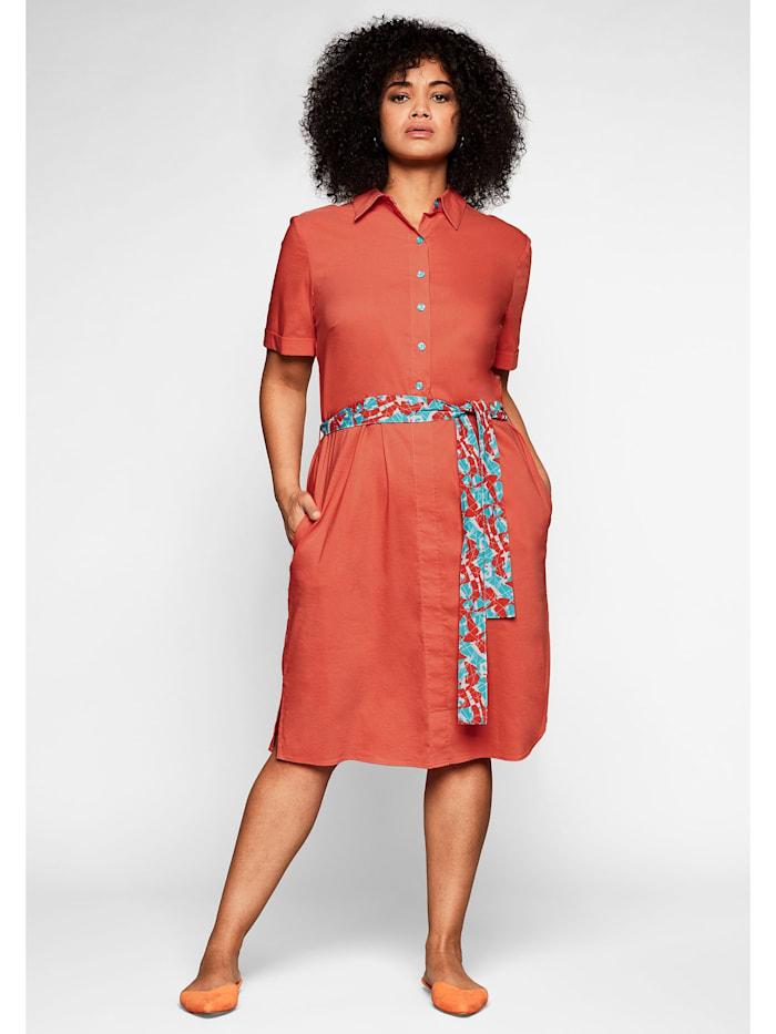 Sheego Sheego Hemdblusenkleid mit Knopfleiste und leichter A-Linie, rotorange